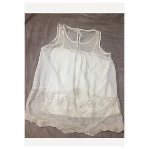 Sheer Lace Tunic with Delicate Beading Size Small